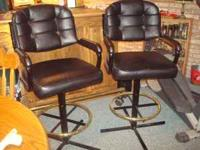 Two Black leather Bar chairs Like New $75.00 apiece #