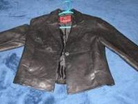 Black Leather Blazer - Very Nice Looking - EC - Size
