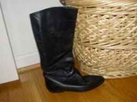 "black leather boots size 6, measure about 14"" from"
