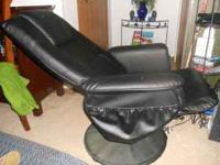 VIBRATING LEATHER CHAIR WITH MATCHING VIBRATING FOOT