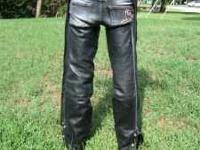 Beautiful Black leather Chaps, Womens size SMALL. Never