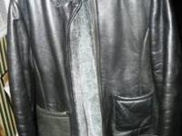 Black Liz Claiborne leather coat with grey fur. $20.