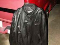 Black leather Members Only jacket. -- Size 3x.
