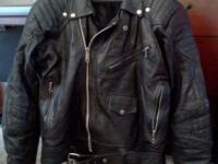 Black Leather Motorcycle Jacket For Sale - Excellent