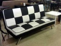 A modern yet cushy leather sofa. This leather sofa is