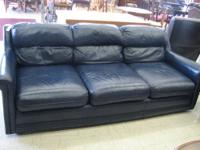 "Elegant Black Leather Sofa - 80"" long and in great"