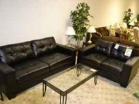 Quality black leather sofa and love sofa with modern