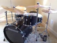 Black Ludwig accent kit - bass, snare, three toms, bass