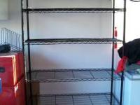 "Black Metal shelving. 48"" WIDE X 18"" DEEP X 72"" TALL."