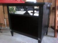 Real Wood, Ultra Chic Black Mirrored Night Stands or