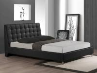 Black Queen Bed Bonded Leather Tufting on Headboard