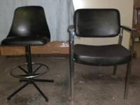 Black Office modern bar stool and waiting chair $40 for