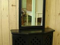 Black Paint Console Credenza Table Cabinet w Mirror SZ