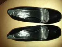 Black Patent Leather Aldo's. Worn once. I no longer