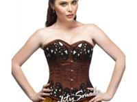 Black-Red Floral Embroidered Steel Boned Corset