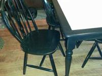 """black refinsied tule top table and 4 chairs. 4'x30"""""""