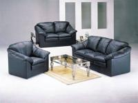 Black Regenerated Leather Match Sofa Set Item #: 05510A