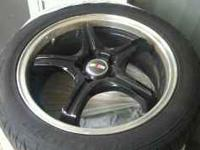 4 black RalliArt rims and tires- with receipt for