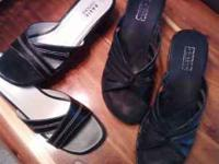 2 pairs of really nice black dress sandals, both size