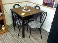 Square Black Table with a Formica Top and 4 Black