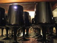 BLACK GLASSWARE CONSISTS OF 4 WINE GLASSES, 11 CORDIAL