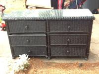 Black wicker bedroom furniture. Needs a little touch up