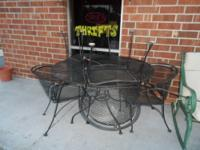 for sale Black Wrought Iron Patio Set Round table with