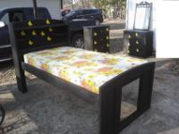 Black Ebony Yellow Butterflies Twin Bedroom Set