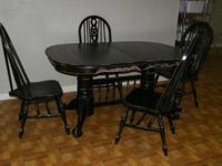 Gorgeous Black, Distressed Table and 4 Chairs. It also