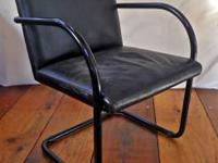 BLACK LEATHER CHAIR-Late 1980's vintage black leather