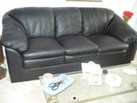 3 year old Black Leather Couch & matching overstuffed