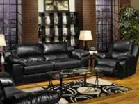 BLACK LEATHER SOFA SET. MADE IN THE USA!!!!! SOFA, LOVE