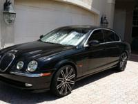 "BLACK ON BLACK JAGUAR S-TYPE LEATHER, 20"" RUFF RIMS"