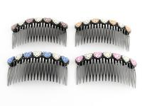 Rhinestone Hair Combs, choose from: Pink & White,