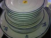 Blue and white dinnerware set asking $10.00 9 coffee