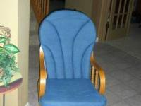 This blue rocker gider w/matching ottoman is very clean