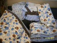 Blue/Brown ''bubble'' crib set for a baby boy! Perfect