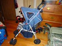 I have a blue light weight easy to store cosco stroller