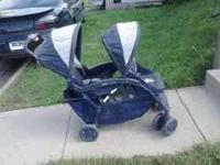 Blue double stroller. Very good condition with large