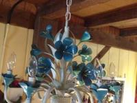 "Blue Flower Chandelier About 19"" wide & 16"" tall +"