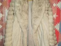 Blue fox fur coat, hugh shawl collar, spiral sleeves,