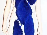 Blue Fox Fur Stole Wrap with sparkly crystals, amazing