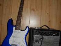 Blue Fender Stratocaster Guitar (Squier series) for