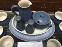 Stunning blue 56 piece stoneware set. Plates, salt and