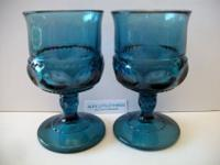Vintage Kings Crown wine or cordial glasses. Thumbprint