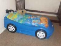 Little tikes blue car bed and mattress in good