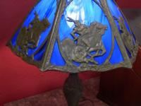 Blue glass panel lamp with metal mounted Native