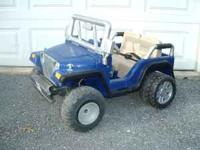 Battery powered Jeep Blue power Wheels Jeep, slightly