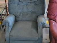 Blue recliner in good shape  $45  Located at:  This N