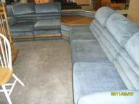 Nice blue sectional sofa set- has recliners on both